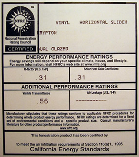 The NFRC label displays the energy efficiency rating of your windows.